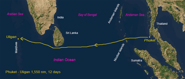 Scorpio sails from Thailand to the Maldives